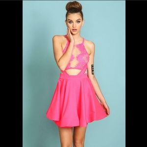 Neon Pink Scalloped Lace Sheer Mesh Cut Out Dress
